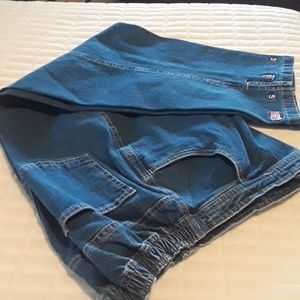 Quaker Factory jeans with red, white and blue deta